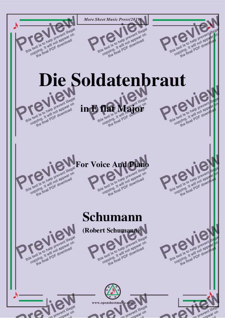 page one of Schumann-Die Soldntenbraut,in E flat Major,for Voice and Piano