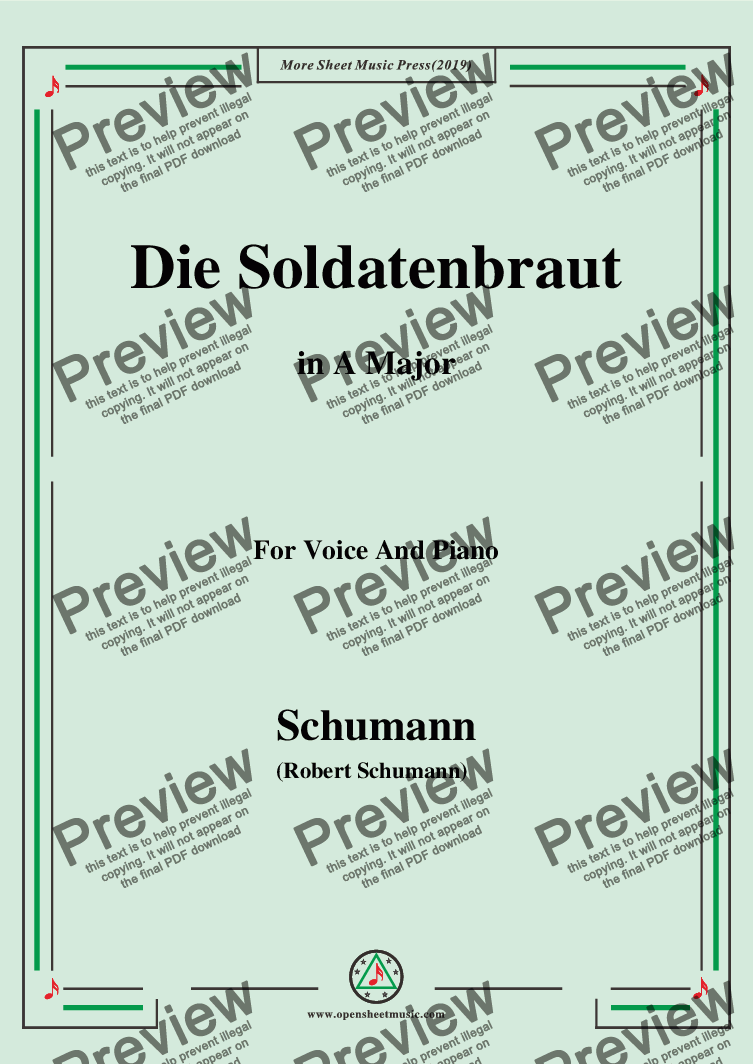 page one of Schumann-Die Soldntenbraut,in A Major,for Voice and Piano