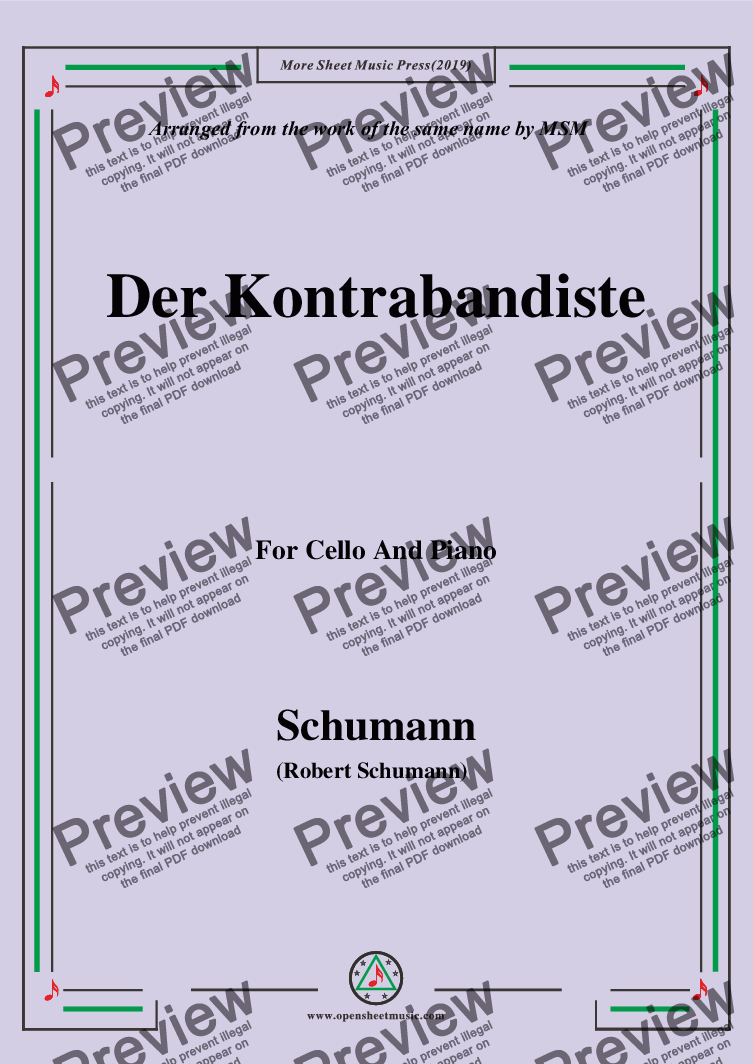 page one of Schumann-Der Kontrabandiste,for Cello and Piano