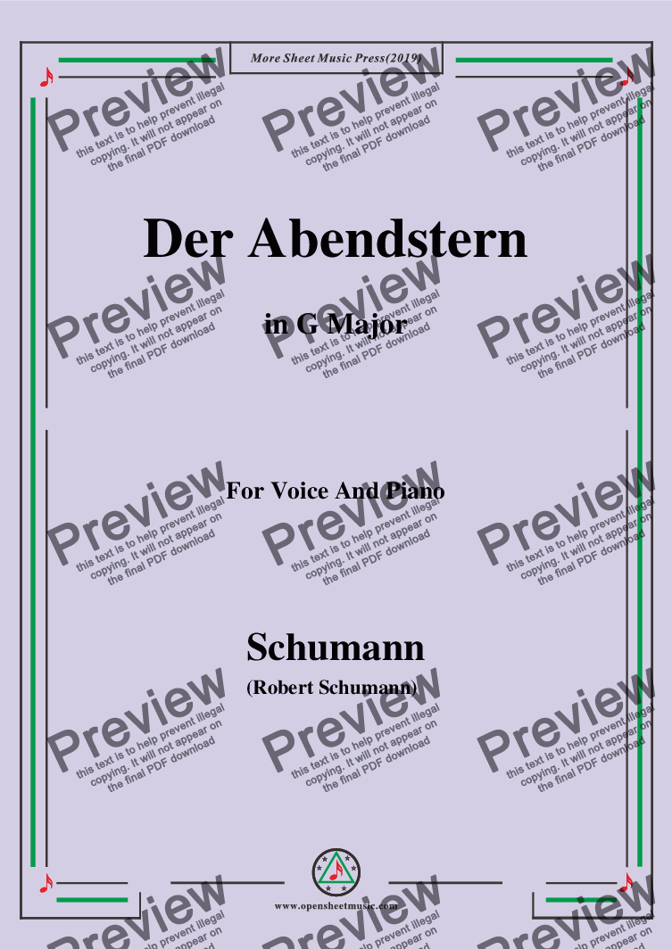 page one of Schumann-Der Abendstern,in G Major,Op.79,No.1,for Voice and Piano