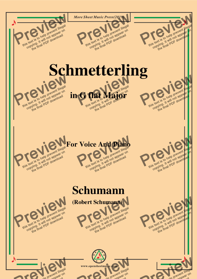 page one of Schumann-Schmetterling,in G flat Major,Op.79,No.2,for Voice and Piano