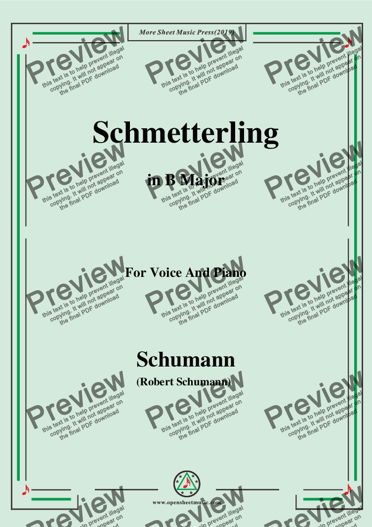 page one of Schumann-Schmetterling,in B Major,Op.79,No.2,for Voice and Piano