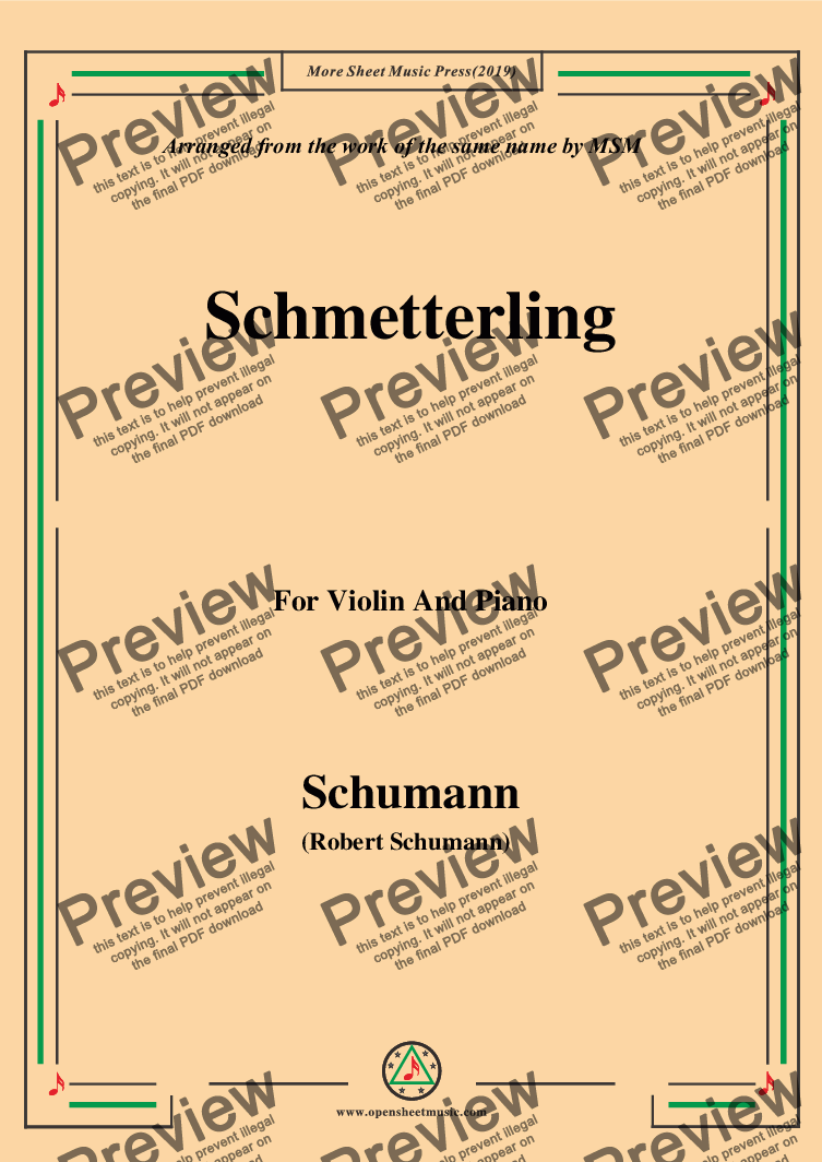page one of Schumann-Schmetterling,Op.79,No.2,for Violin and Piano