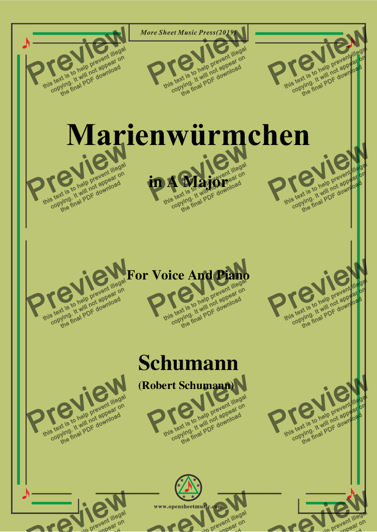 page one of Schumann-Marienwürmchen,in A Major,Op.79,No.14,for Voice and Piano