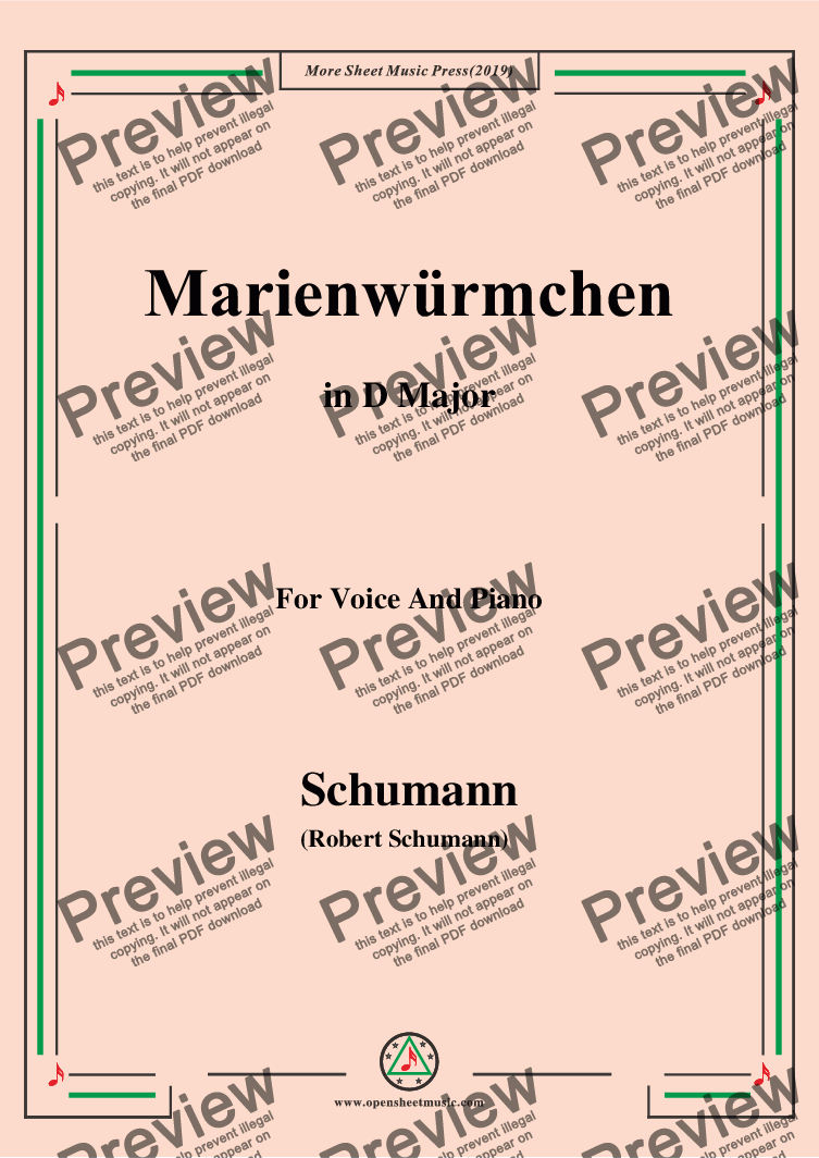 page one of Schumann-Marienwürmchen,in D Major,Op.79,No.14,for Voice and Piano