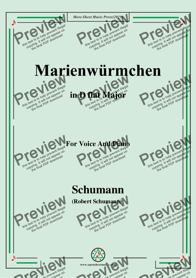 page one of Schumann-Marienwürmchen,in D flat Major,Op.79,No.14,for Voice and Piano