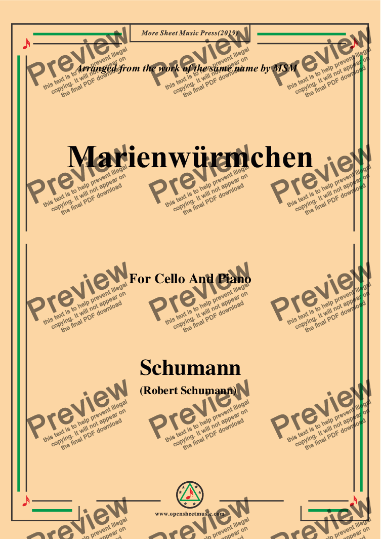 page one of Schumann-Marienwürmchen,Op.79,No.14,for Cello and Piano