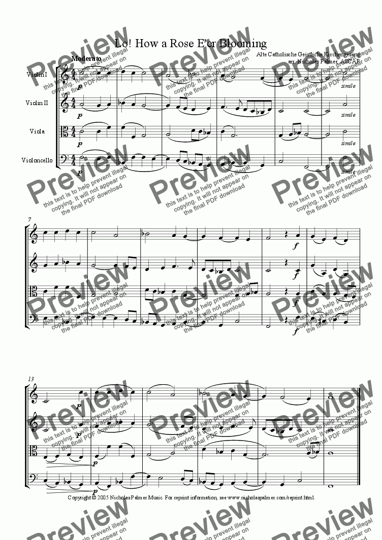 page one of Lo! How a Rose E'er Blooming (Easy String Quartet)