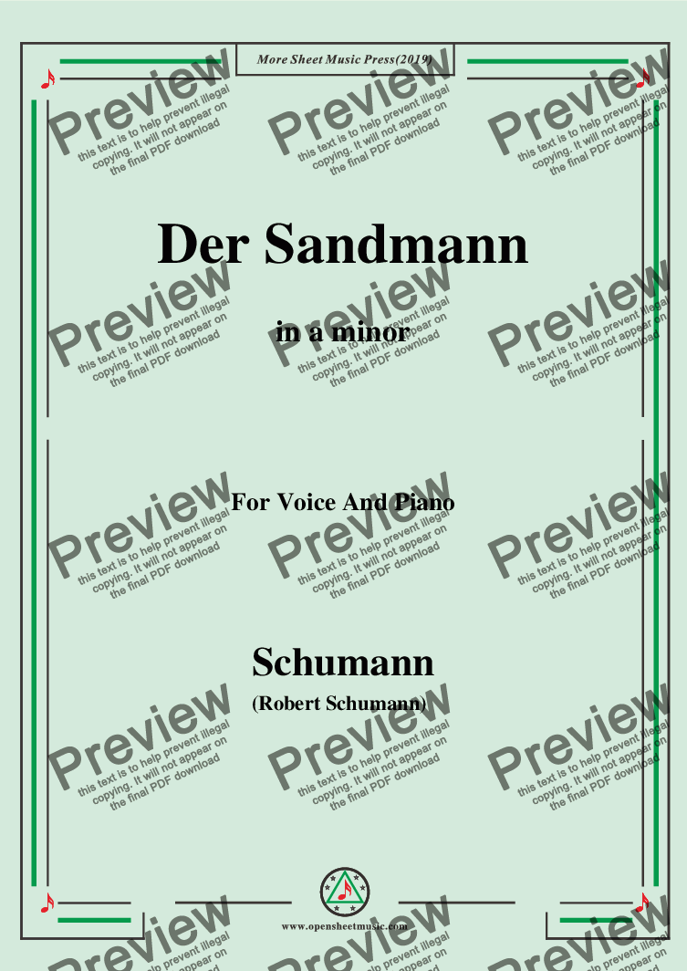 page one of Schumann-Der Sandmann,in a minor,Op.79,No.13,for Voice and Piano