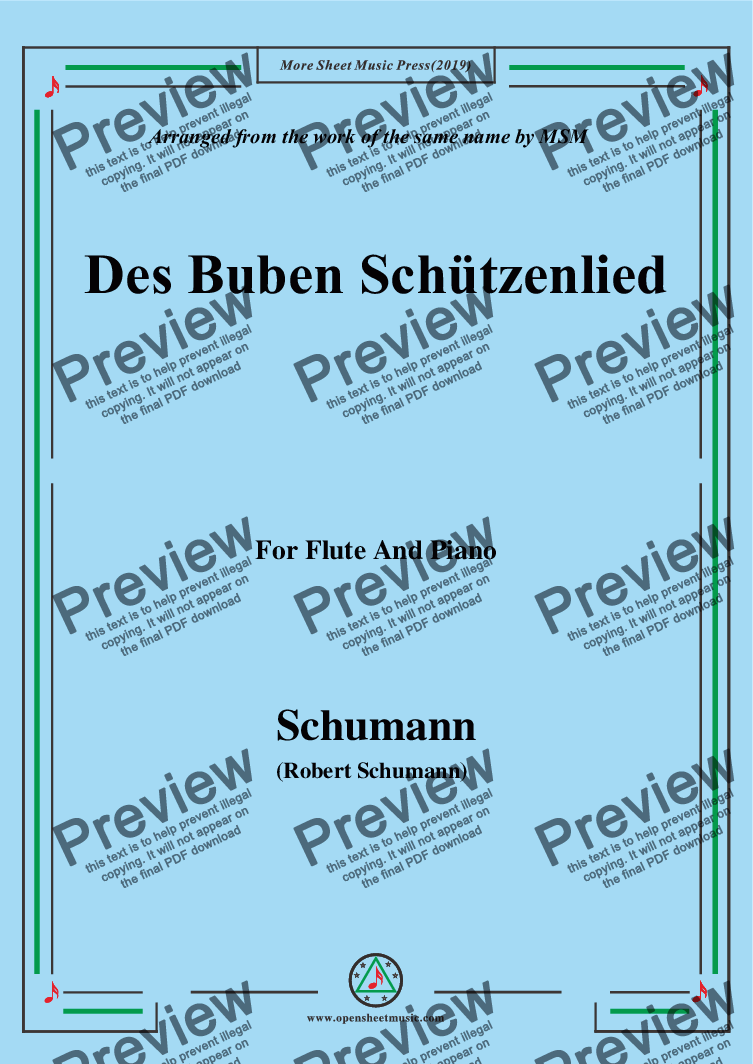 page one of Schumann-Des Buben Schützenlied,Op.79,No.26,for Flute and Piano