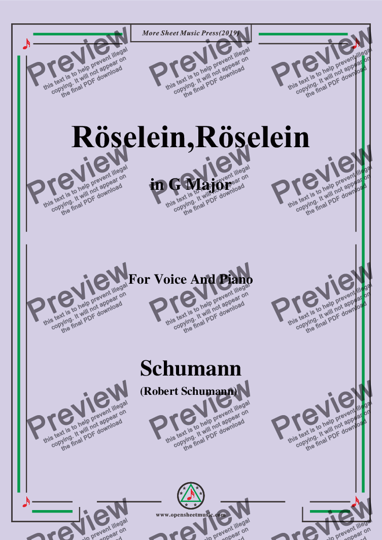 page one of Schumann-Röselein,Röselein,in G Major,for Voice and Piano