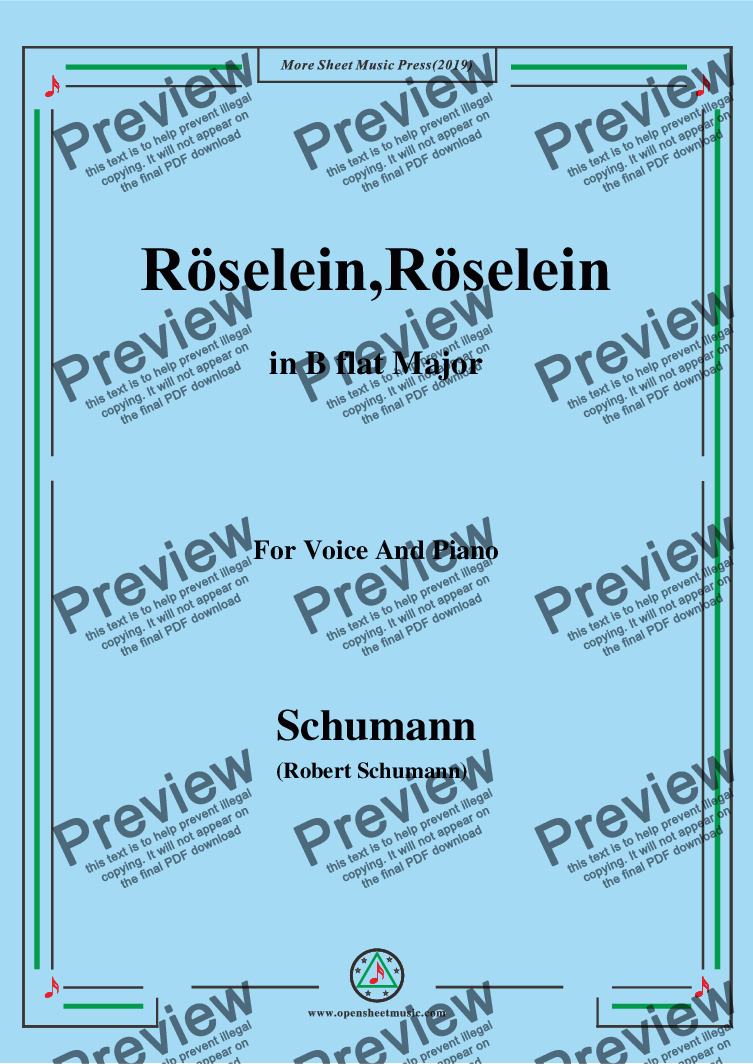 page one of Schumann-Röselein,Röselein,in B flat Major,for Voice and Piano