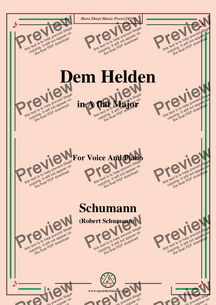 page one of Schumann-Dem Helden,in A flat Major,for Voice and Piano
