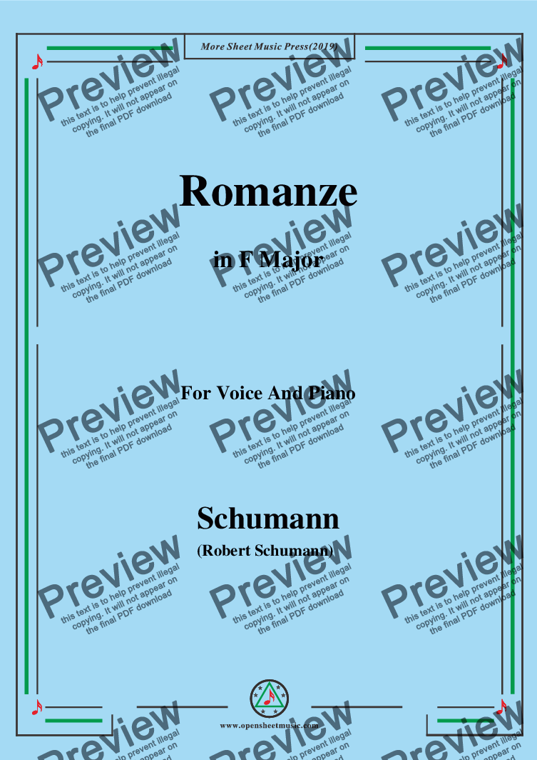page one of Schumann-Romanze,in F Major,for Voice and Piano