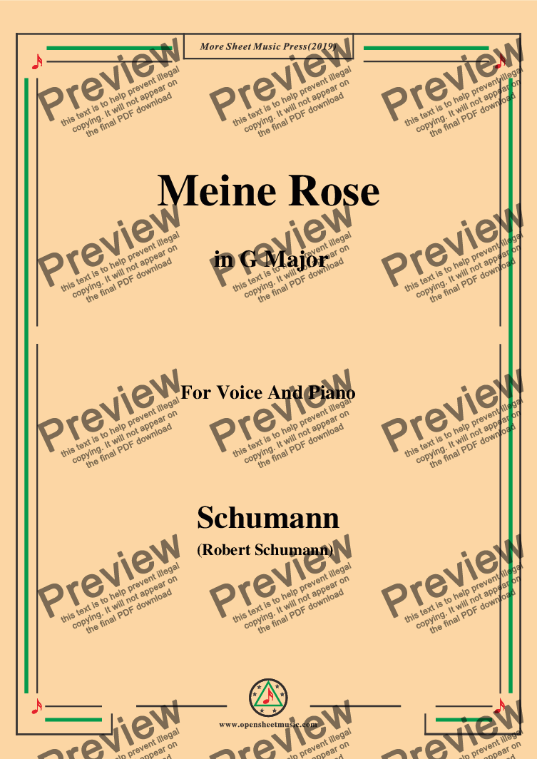 page one of Schumann-Meine Rose,in G Major,for Voice and Piano