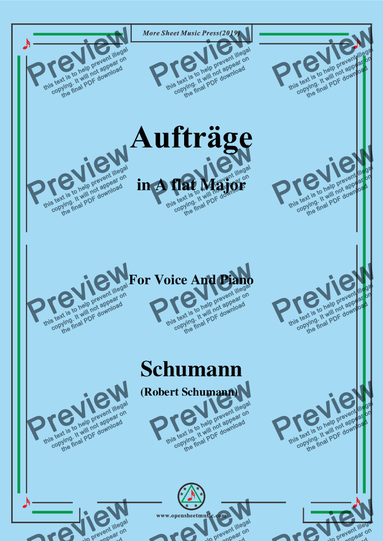 page one of Schumann-Aufträge,in A flat Major,for Voice and Piano