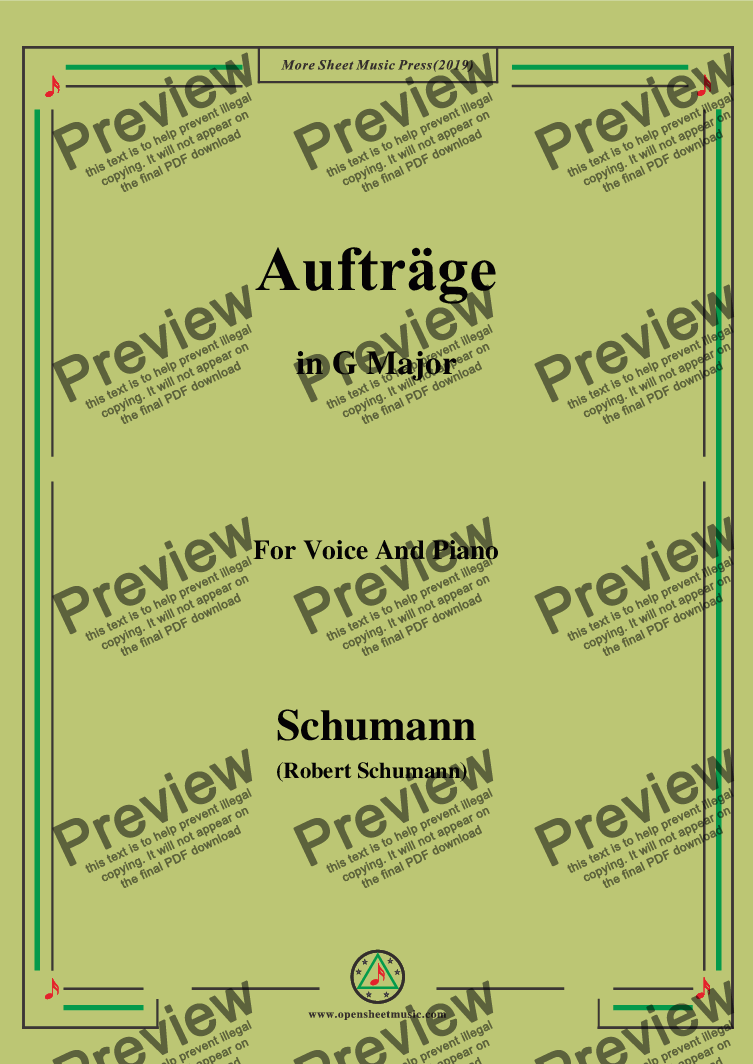 page one of Schumann-Aufträge,in G Major,for Voice and Piano