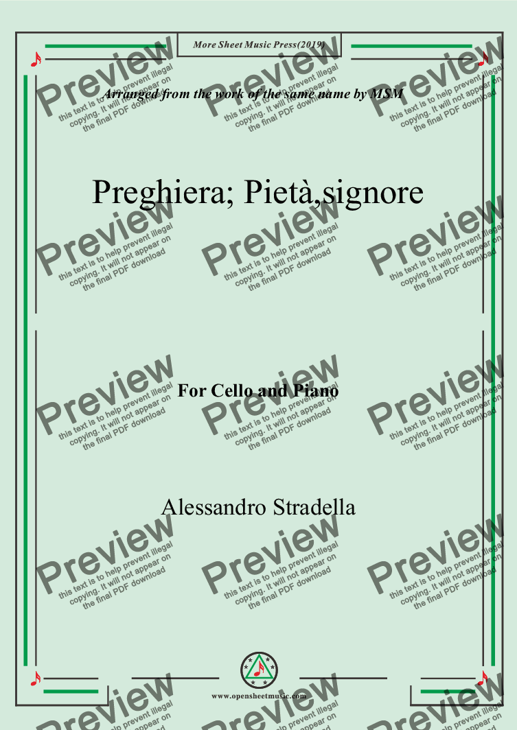 page one of Stradella-Preghiera; Pietà,signore, for Cello and Piano