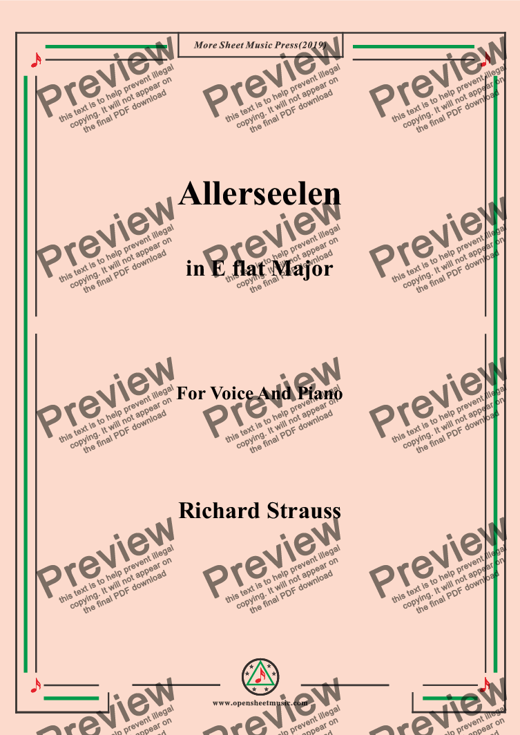 page one of Richard Strauss-Allerseelen in E flat Major,For Voice&Pno