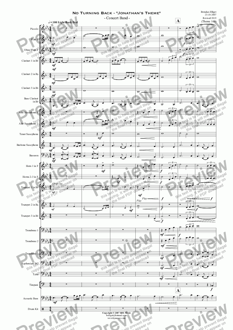 "page one of No Turning Back - ""Jonathan's Theme""   - Concert Band"