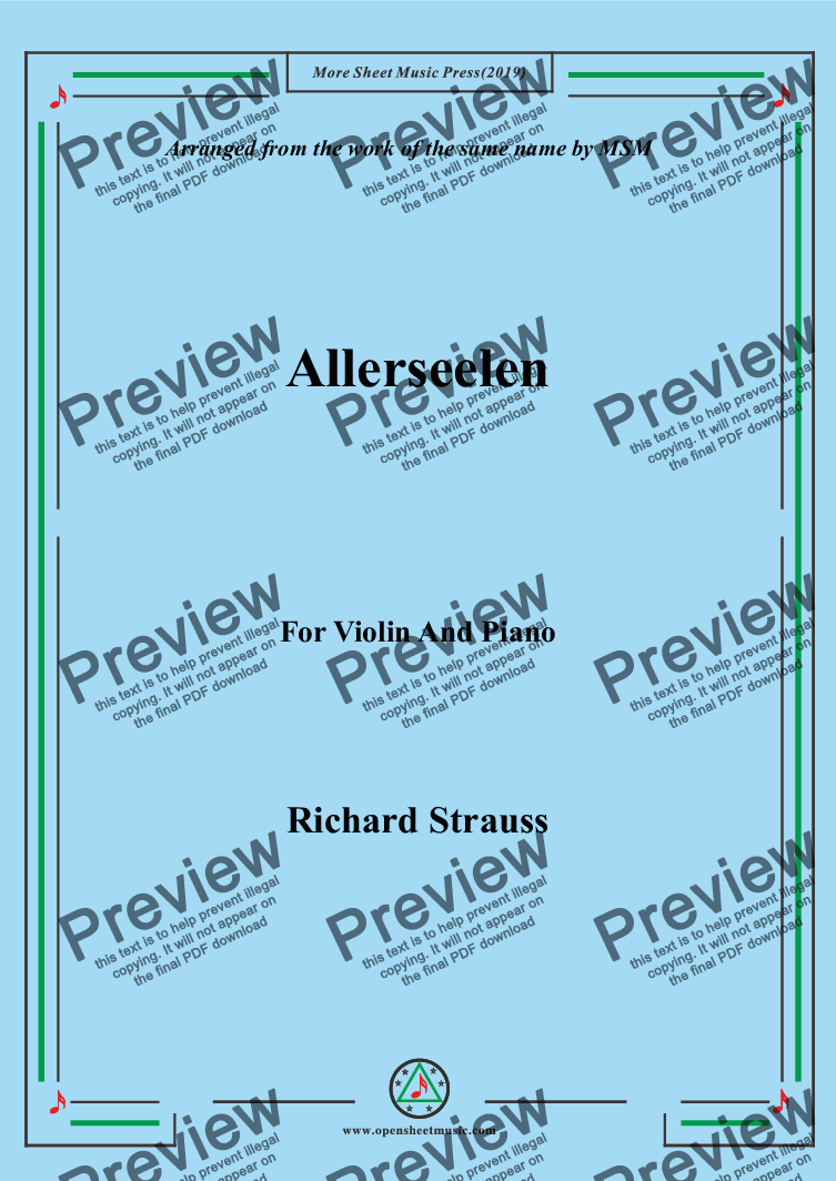 page one of Richard Strauss-Allerseelen, for Violin and Piano