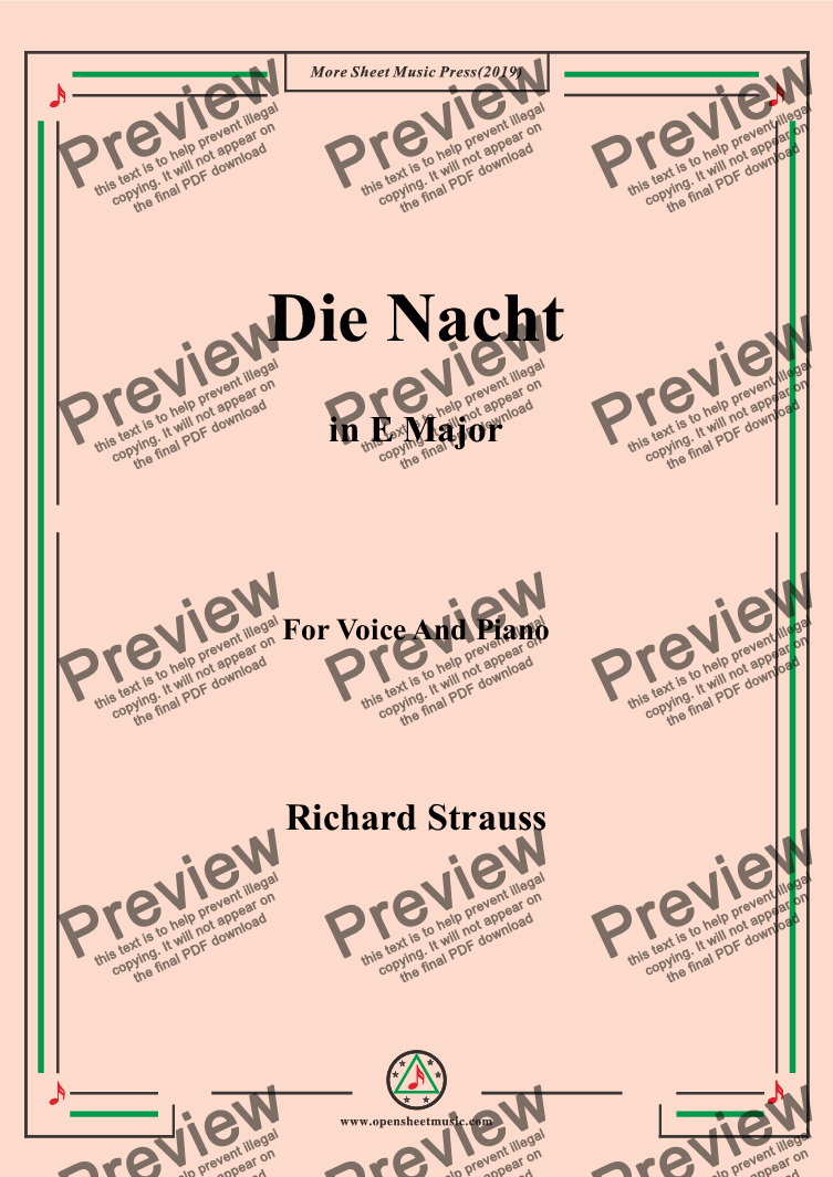 page one of Richard Strauss-Die Nacht in E Major,For Voice&Pno