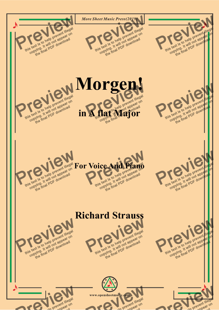 page one of Richard Strauss-Morgen! In A flat Major,For Voice&Pno