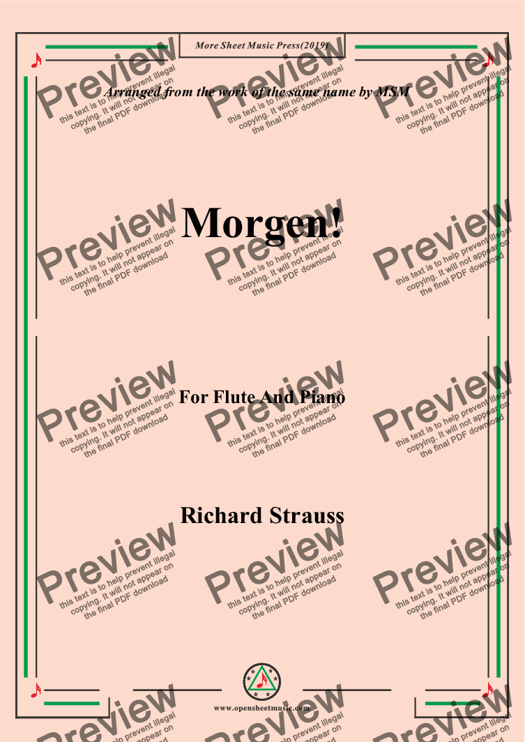 page one of Richard Strauss-Morgen! for Flute and Piano