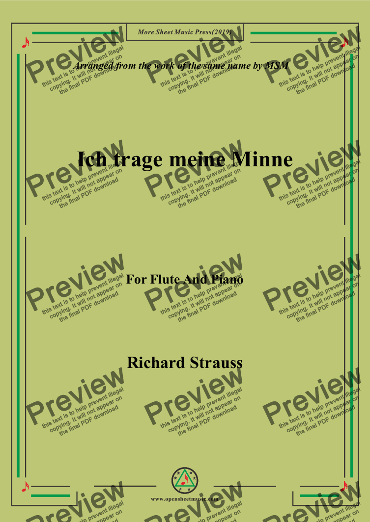 page one of Richard Strauss-Ich trage meine Minne, for Flute and Piano