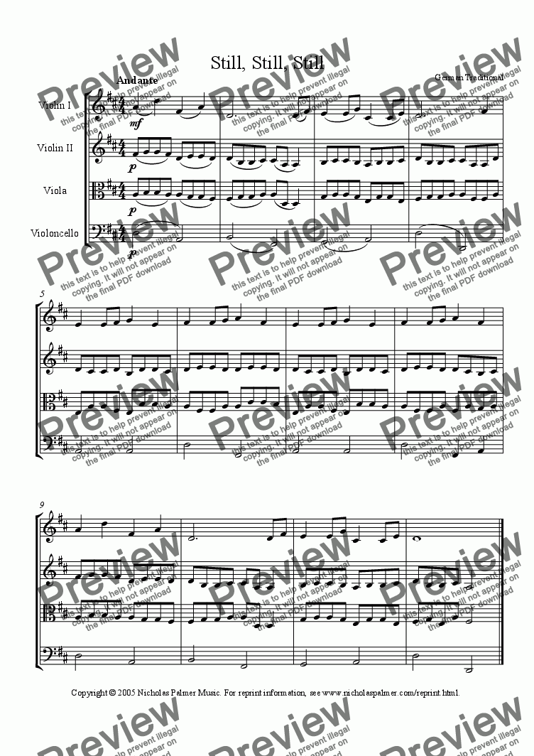page one of Still, Still, Still (Easy string quartet)
