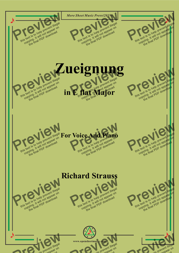 page one of Richard Strauss-Zueignung in E flat Major,For Voice&Pno