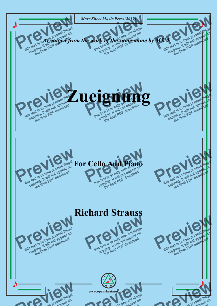 page one of Richard Strauss-Zueignung, for Cello and Piano