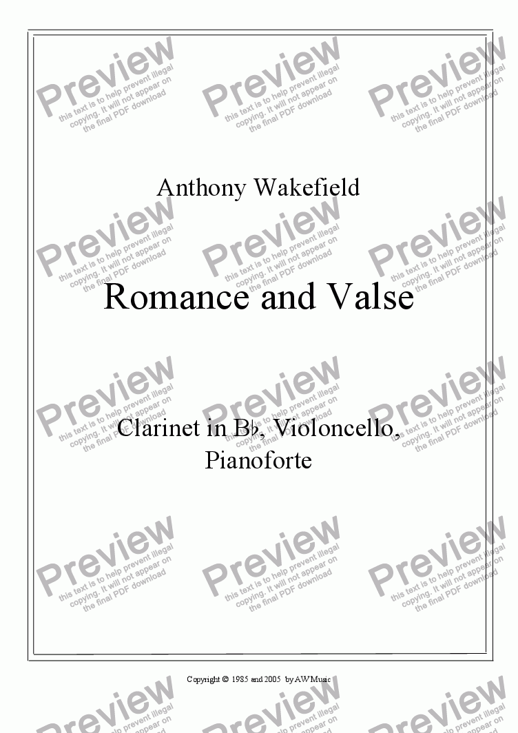 page one of Romance and Valse (Clar, Cello, Pno)