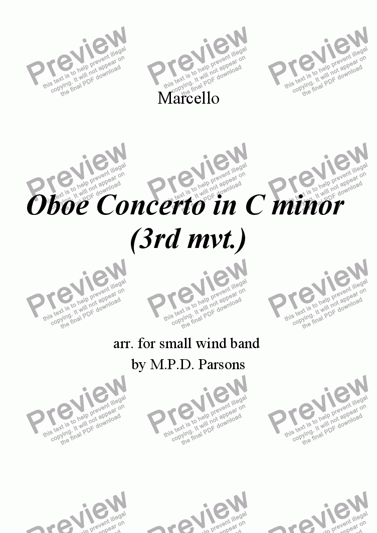 page one of Oboe Concerto mvt. 3 Allegro