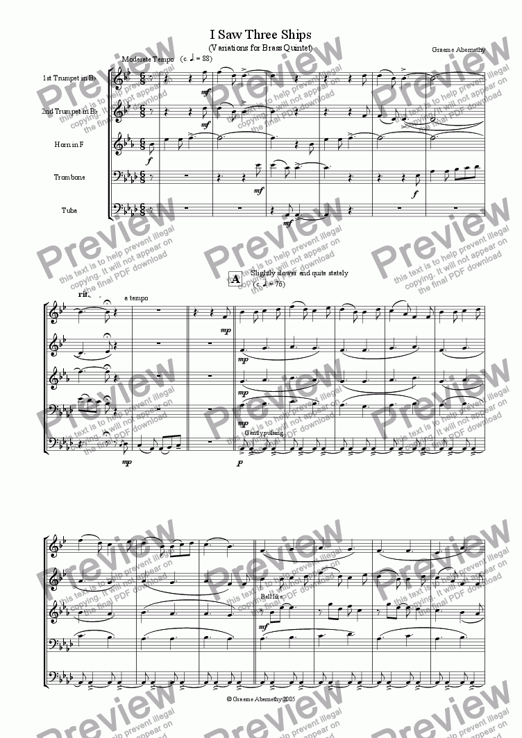 page one of I Saw Three Ships (Variations for Brass Quintet)