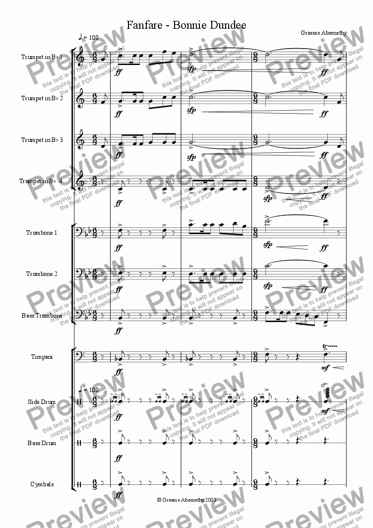 page one of Fanfare - Bonnie Dundee