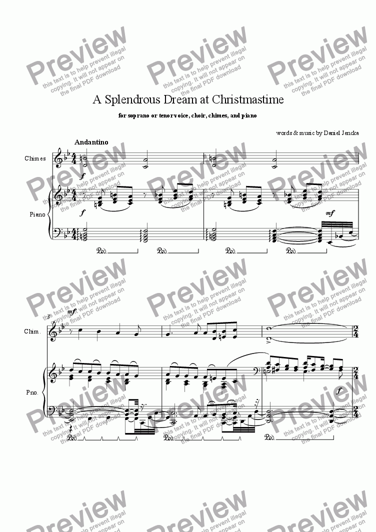 page one of A SPLENDROUS DREAM AT CHRISTMASTIME for Soprano or Tenor Voice, Choir, Chimes, and Piano