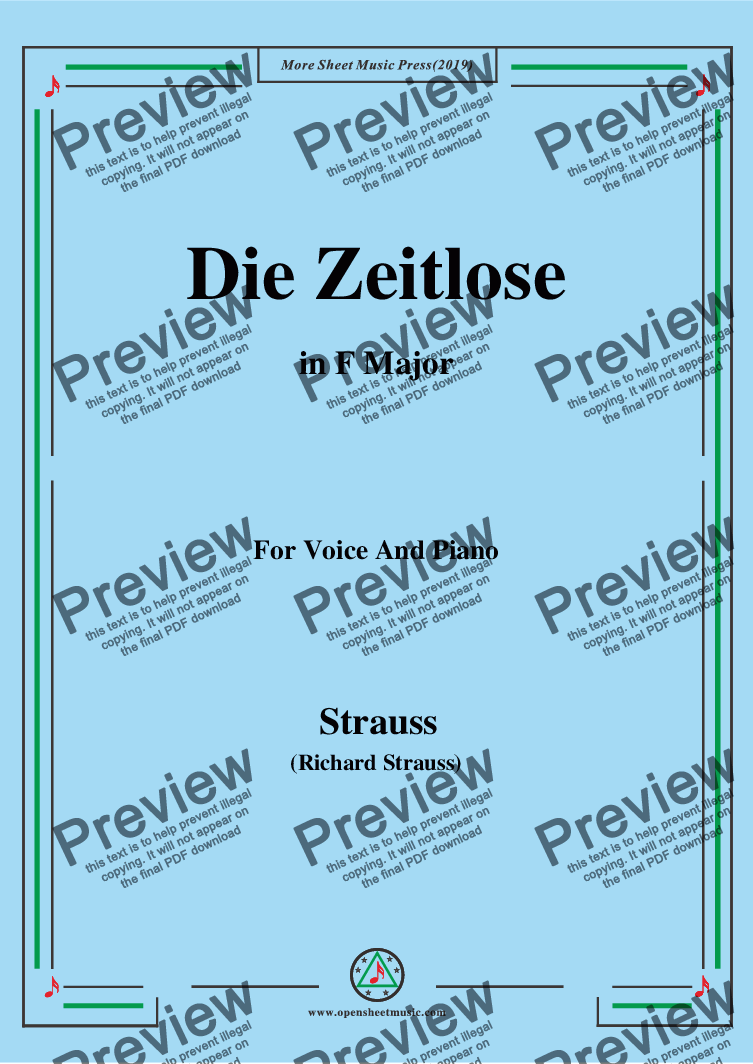 page one of Richard Strauss-Die Zeitlose in F Major,For Voice&Pno