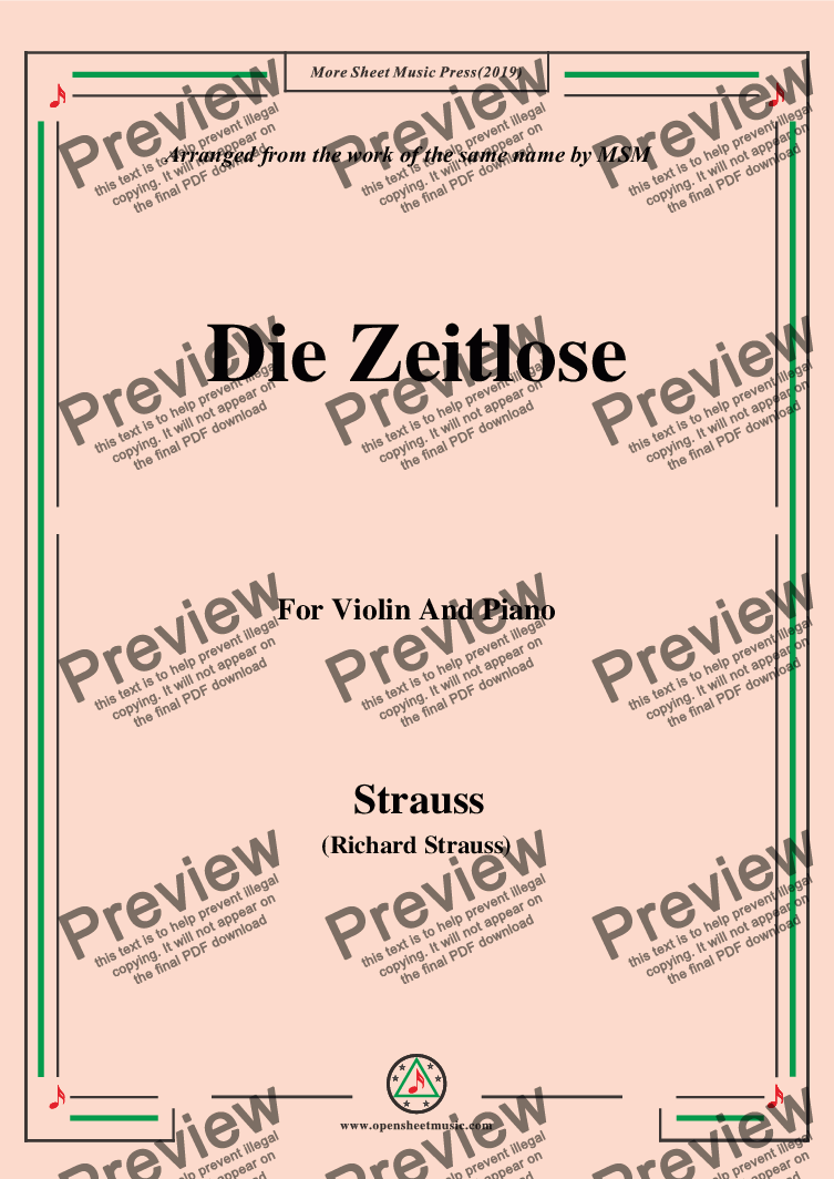 page one of Richard Strauss-Die Zeitlose, for Violin and Piano