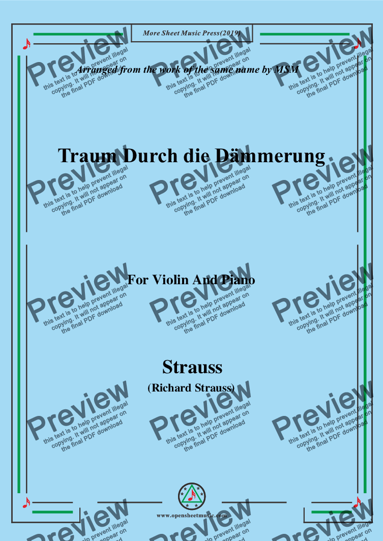 page one of Richard Strauss-Traum Durch die Dämmerung, for Violin and Piano