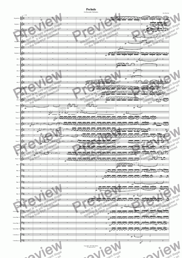 page one of Prelude for Recorder Orchestra