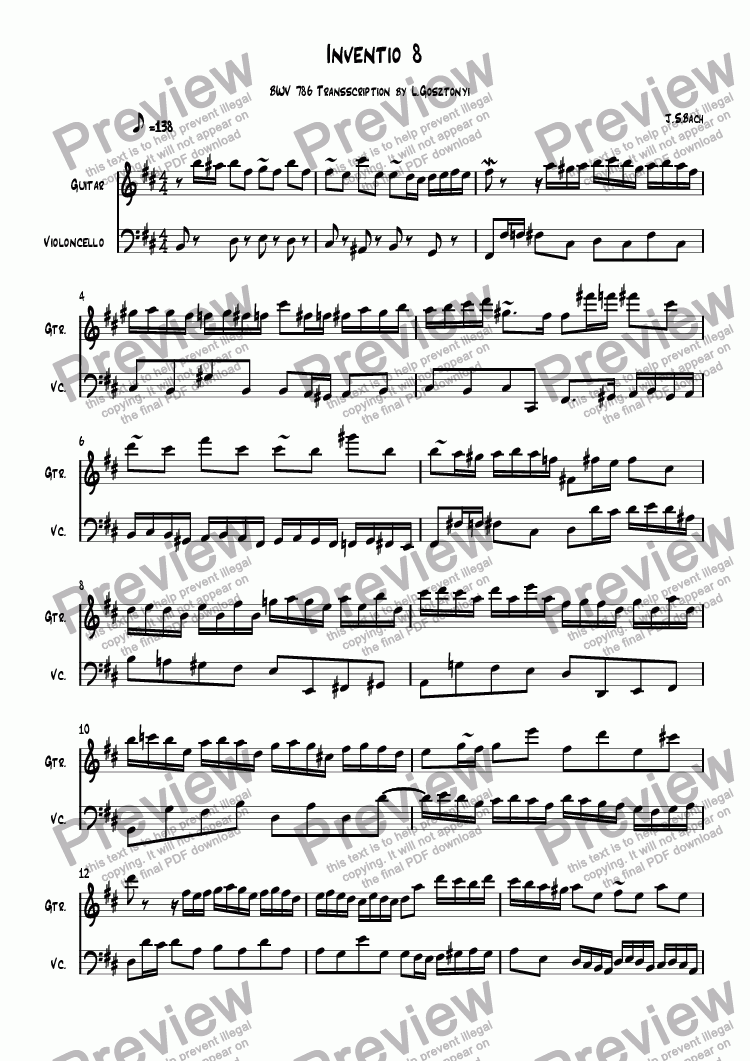 page one of Inventio 15 BWV 786 Transscription by L.Gosztonyi