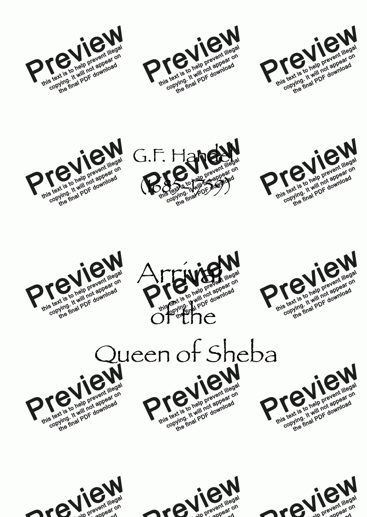 page one of Arrival of the Queen of Sheba
