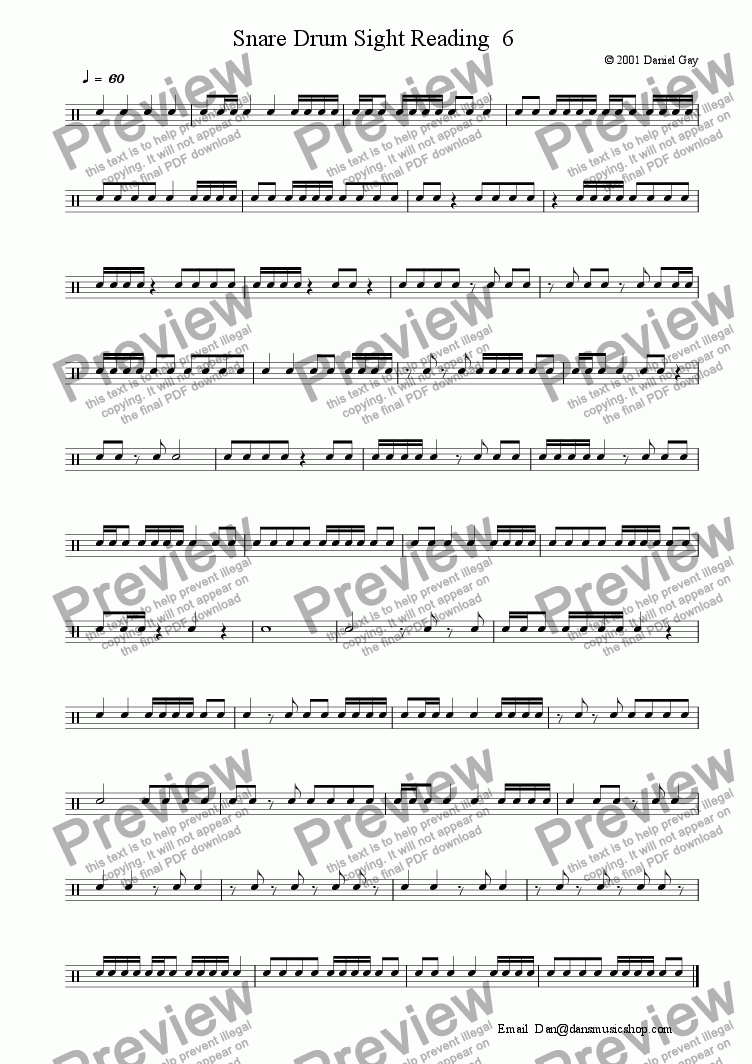 page one of Snare Drum Sight Reading  6