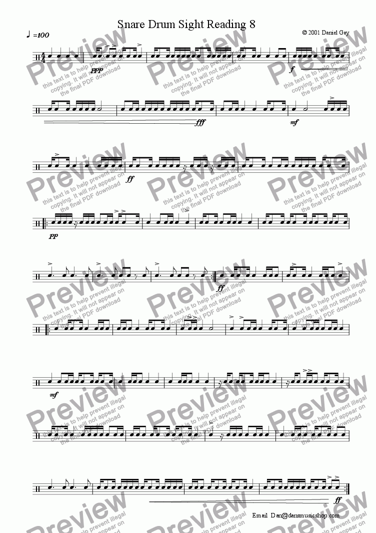 Snare Drum Sight Reading 8 for Solo instrument (Snare Drum) by Daniel Gay -  Sheet Music PDF file to download