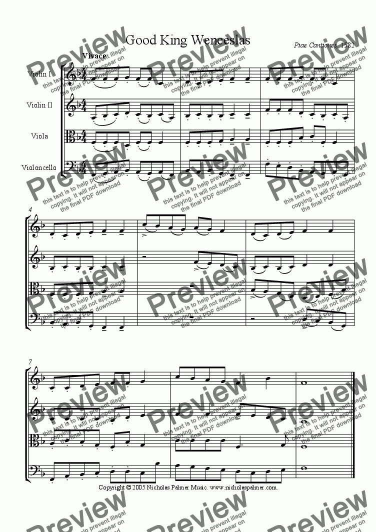page one of Good King Wenceslas (Easy String Quartet)