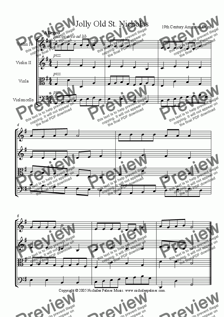 page one of Jolly Old Saint Nicholas (Easy string quartet)