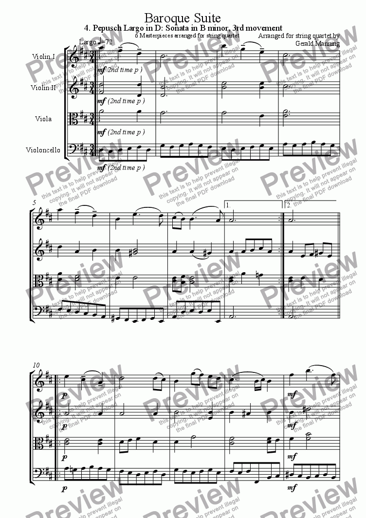 page one of Baroque Suite - 4. Johann Christoph Pepusch Largo in D: Sonata in B minor 3rd Movement - arr. for string quartet