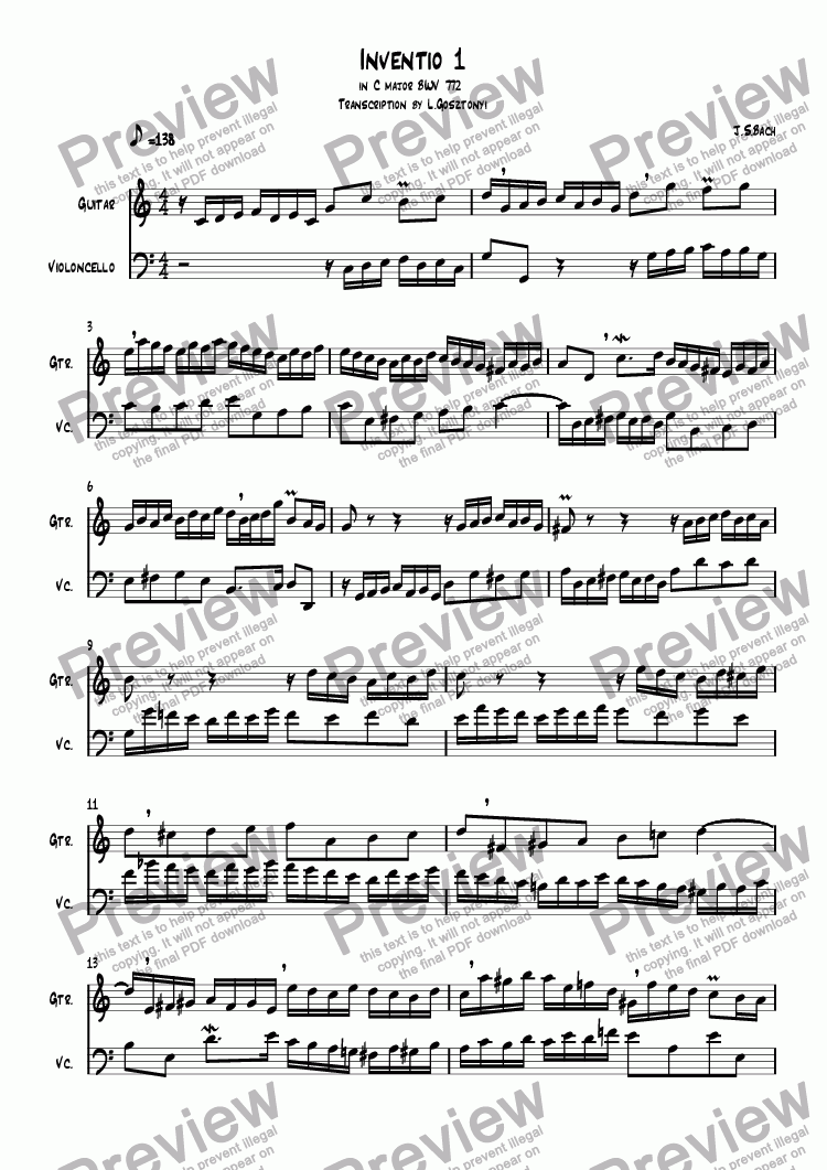 page one of Inventio 1 in C major BWV 772  Transcription by L.Gosztonyi