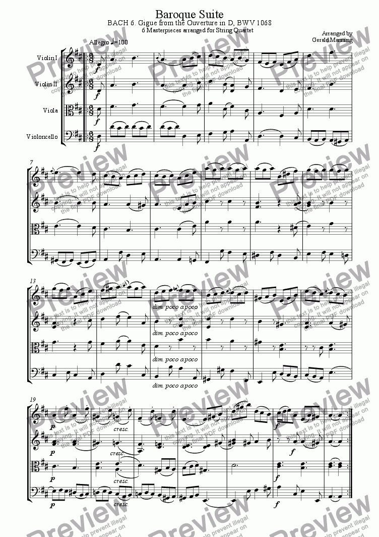 page one of Baroque Suite - 6.Johann Sebastian Bach Gigue: Ouverture in D BWV 1068 - arr. for string quartet